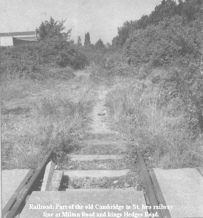 Railroad: Part of the old Cambridge to St. Ives railway line at Milton Road and Kings Hedges Road.